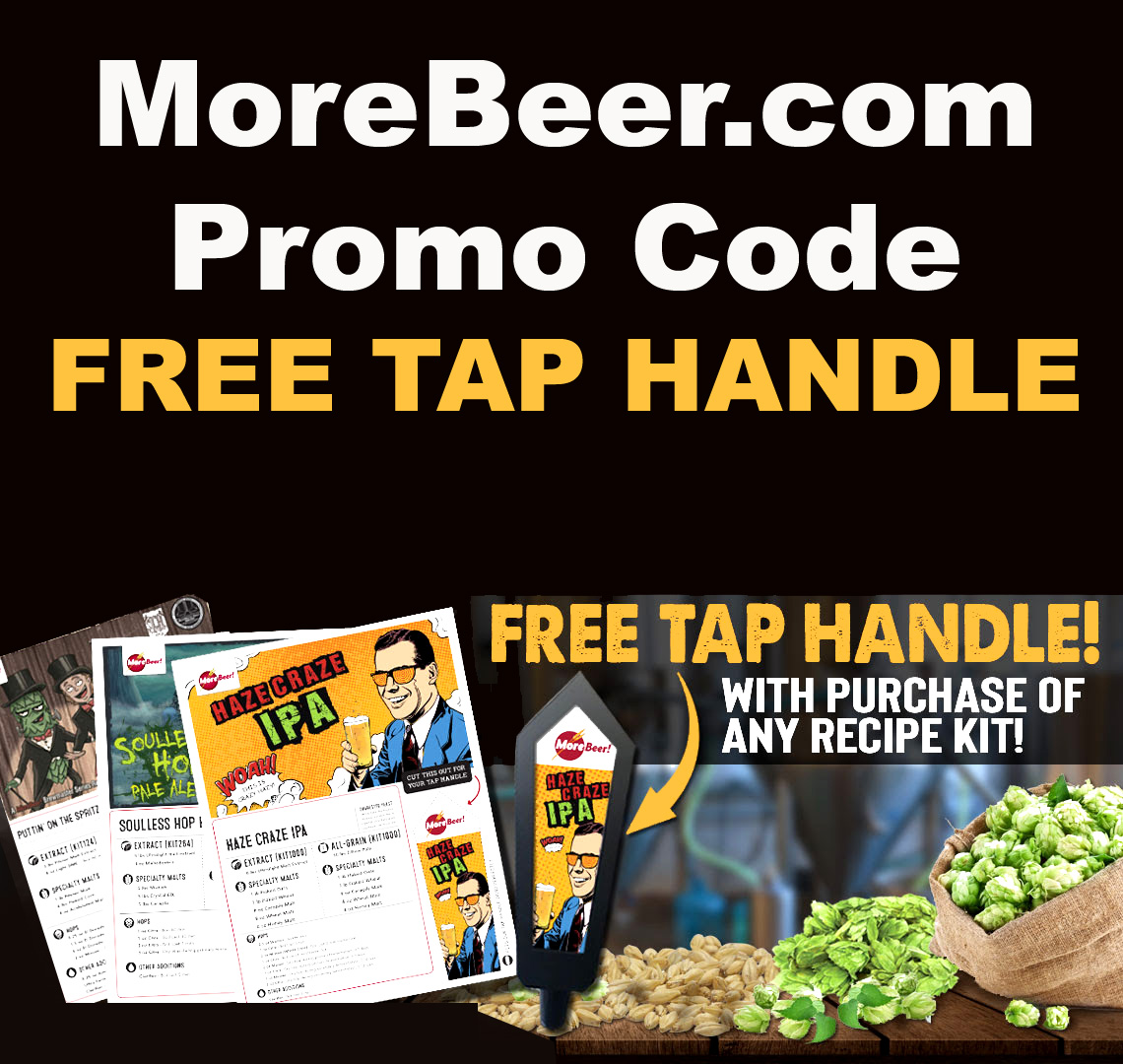 MoreBeer Use this MoreBeer Promo Code and Get a Free Tap Handle With Purchase Of Any Recipe Kit Coupon Code